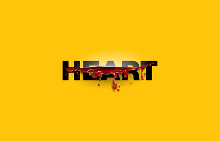 blood splatter: Heart. text cut with the blood template. Yellow background Illustration