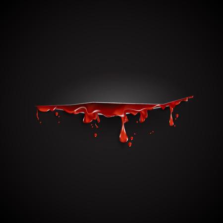 herida: cortar con plantilla de sangre XX. Fondo negro Vectores