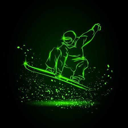 luminescent: snowboarder jumping. Neon sports background Illustration