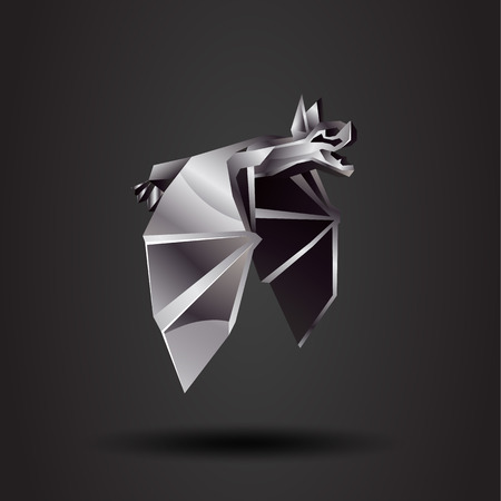 chrome: vector origami chrome bat