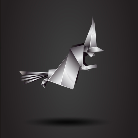 chrome: vector origami chrome witch Illustration