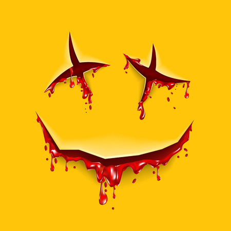 cut: Halloween cut blood smile on a yellow background