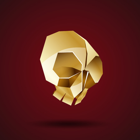 gold metal: golden skull vector origami