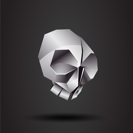 chrome: vector origami chrome skull Illustration