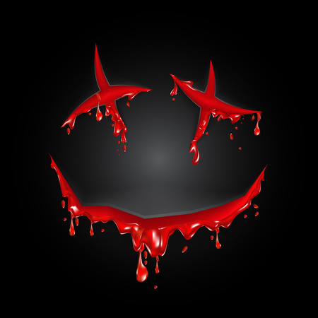 Halloween cut blood smile on a black background Çizim