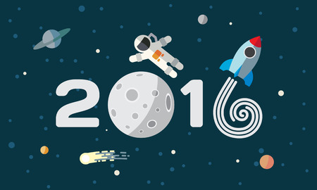 El astronauta y el cohete en el fondo de la luna. Ilustración de vector