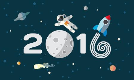 planeta tierra feliz: El astronauta y el cohete en el fondo de la luna. Vectores