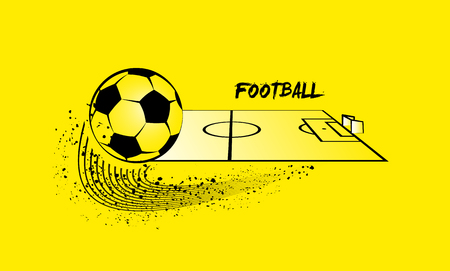 soccer field: Soccer ball and soccer field in horizontal perspective.