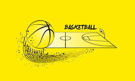 tournament bracket: Basketball ball and basketball court in horizontal perspective