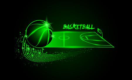 cancha de basquetbol: Neon lineal ilustraci�n