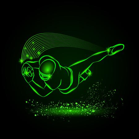 Neon stijl afbeelding van de sport.