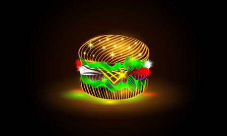 deli sandwich: Glowing neon burger Illustration