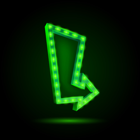 laser lights: Neon curved arrow. 3D banner. Illustration