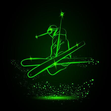 neon green: Skiing freestyle. Neon style.