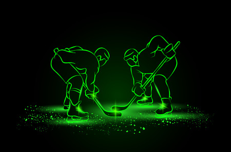 green face: Hockey players are preparing for the face-off. Neon style.
