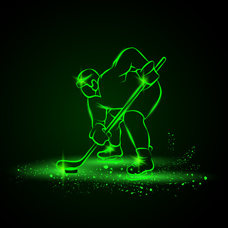 hockey games: Hockey player ready to play. Neon style.