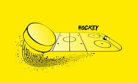 puck: Hockey arena and flying puck.