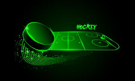 terrain de handball: aréna de hockey et une rondelle de vol. style Neon.