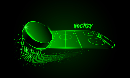 Hockey arena and flying puck. Neon style.