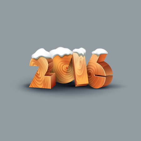 snow cap: Wooden numbers with snow cap. New Year poster for the calendar