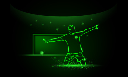 soccer background: football player celebrating a goal, neon style Illustration