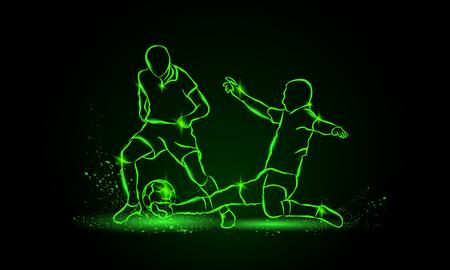 Football. lutte pour le ballon. tacle. style néon.