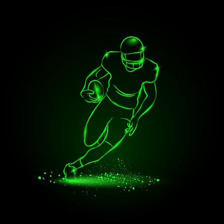 bannière football: Football. Le joueur se enfuit avec le ballon. style néon