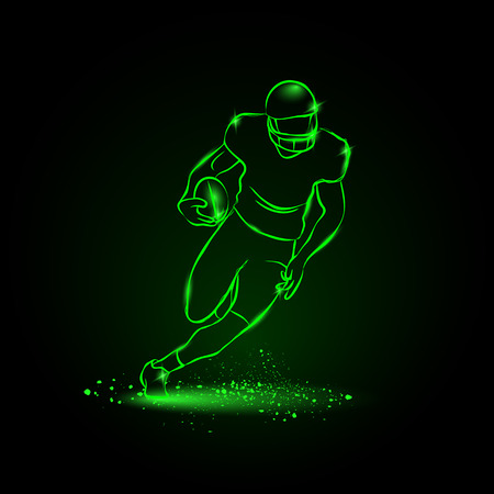 american football ball: Football. The player runs away with the ball. neon style