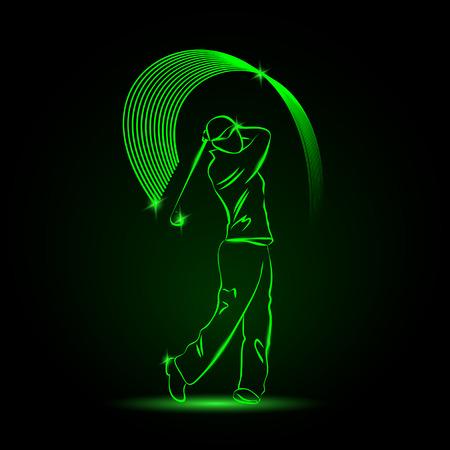 Golf speler met een stok. Sport neon illustratie. Vector Illustratie