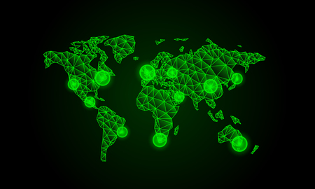 screen savers: green polygon world map infographic, neon illustration.