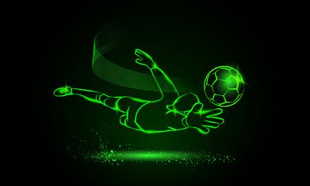 Footballr save from the goalkeeper. Sport neon illustration