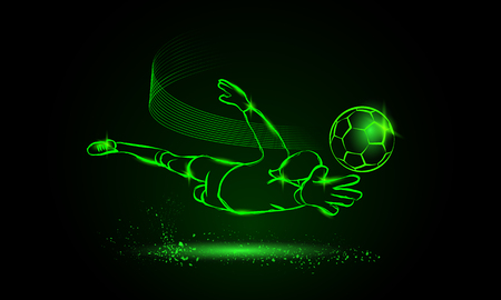 Footballr save from the goalkeeper. Sport neon illustration