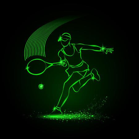 Tennis meisjesspelers met racket. Sport neon illustratie. Vector Illustratie