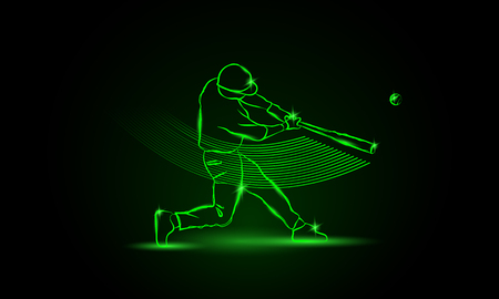 Baseball. The player hit the ball. neon style