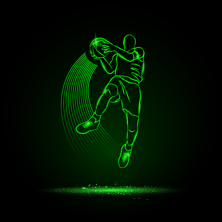screen savers: Basketball. The player jumping with the ball. neon style Illustration