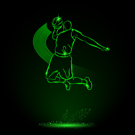 Basketball. Throw the ball, Slam. neon style