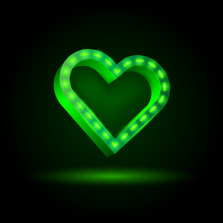 laser lights: Happy Valentines Day. Neon 3d heart banner with illumination.