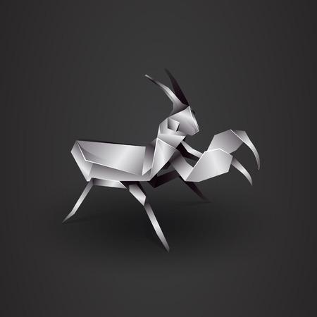 mantis: 3d chrome origami mantis