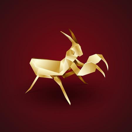 mantis: 3d gold origami mantis Illustration