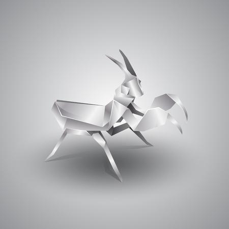 mantis: 3d silver origami mantis