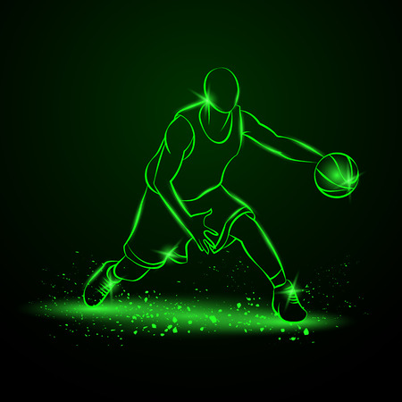 basketball dunk: Basketball player with ball. Neon style Illustration