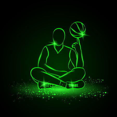 spins: Basketball player spins the ball. Neon style