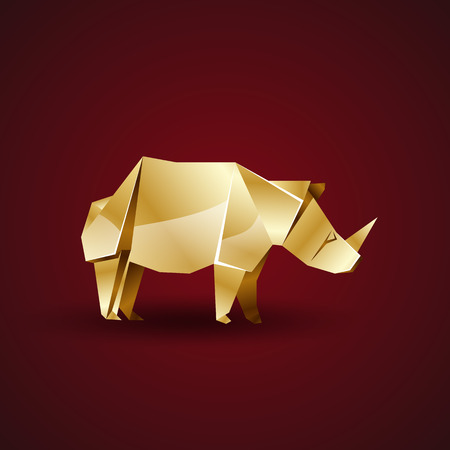 Vector Golden Origami Rhino Royalty Free Cliparts Vectors And