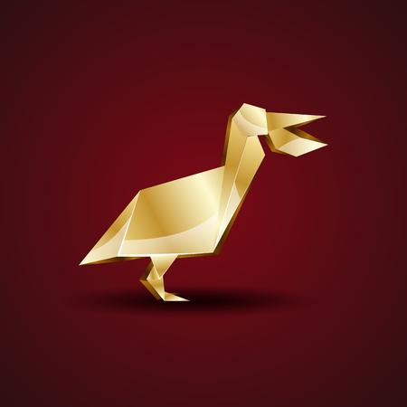 Vector Golden Origami Pelican Royalty Free Cliparts Vectors And