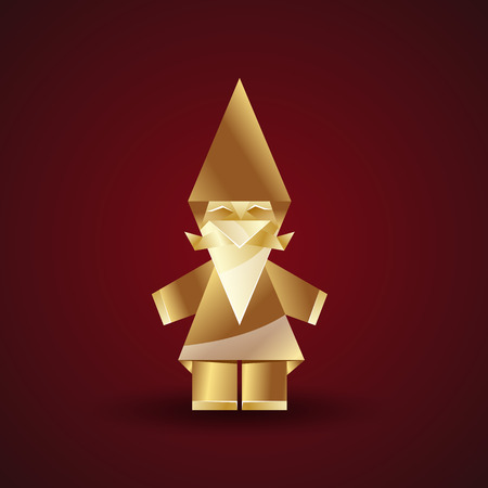 gnome: vector golden origami gnome