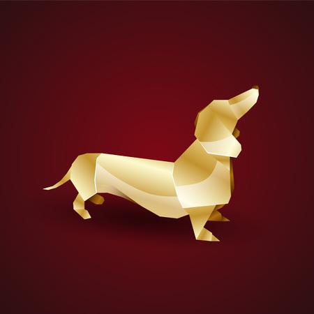 dachshund: vector golden origami dog. dachshund Illustration