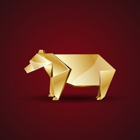 animal den: vector golden origami bear