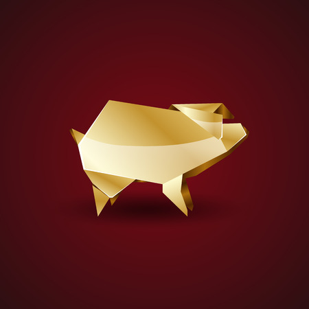 coulomb: origami golden pig