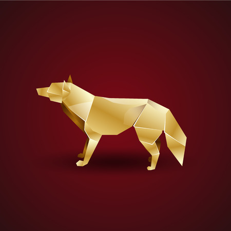 Golden Origami Wolf Royalty Free Cliparts Vectors And Stock