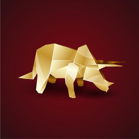 triceratops: golden origami Triceratops